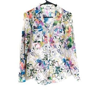 Express Portofino Shirt Neon Watercolor Floral